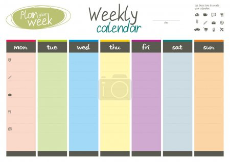 Photo for Plan your week. Weekly calendar. Easy to edit. Eps 8. - Royalty Free Image