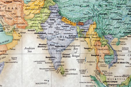 Photo for Map of india and surrounding countries and arabian sea - Royalty Free Image