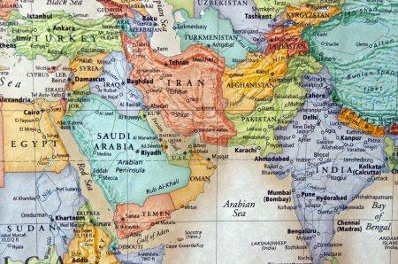 Photo pour Carte de l'iran et du Moyen-Orient - image libre de droit