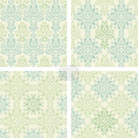 Illustration pour Ensemble de motifs damassés colorés sans couture de couleur bleue et verte - image libre de droit