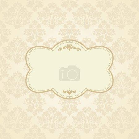Illustration pour Fond vintage, carte de vœux antique, invitation avec ornements victoriens et cadre vintage, belle carte postale de luxe - image libre de droit
