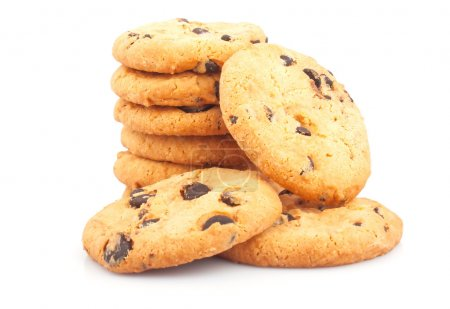 Photo for Stack of delicious cookies with chocolate chips on white background, food photos - Royalty Free Image