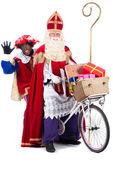 Sinterklaas and Black Pete on a bike