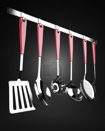 Rack of kitchen utensils