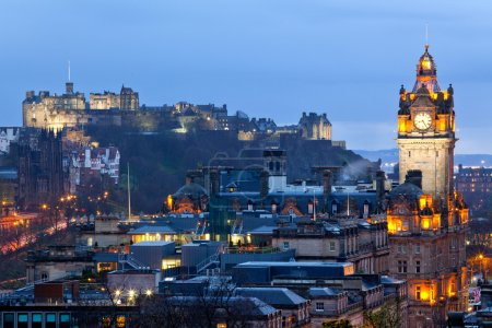 Photo for Edinburgh Castle with Cityscape from Calton Hill at dusk Scotland UK - Royalty Free Image
