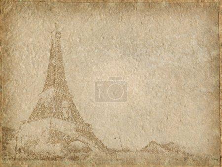 vintage Paper with Eiffel Tower Paris