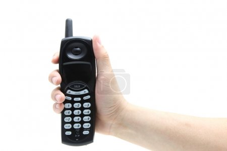 phone in the hand isolated on white