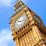 Close up of Big Ben Clock Tower Against Blue Sky E...
