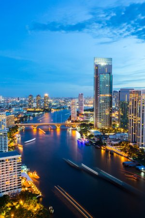 Photo for Aerial view of Bangkok Skyline along Chaophraya River sunset twilight - Royalty Free Image