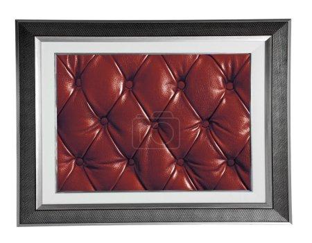 Photo pour Isolée argent cadre photo moderne avec texture en cuir rouge - image libre de droit