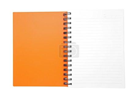 isolated open orange ring binding book