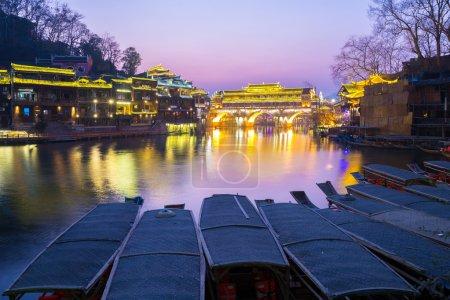 Hongqiao Bridge Fenghuang twilight China