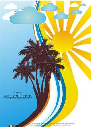 Vector Tropical background with palm tree, waves and sun