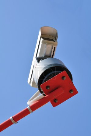 Surveillance Camera mounted on a post