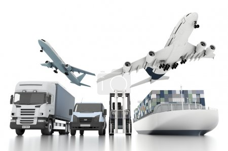 Photo for 3d world wide cargo transport concept - Royalty Free Image