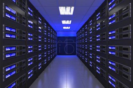 3d Modern interior of server room