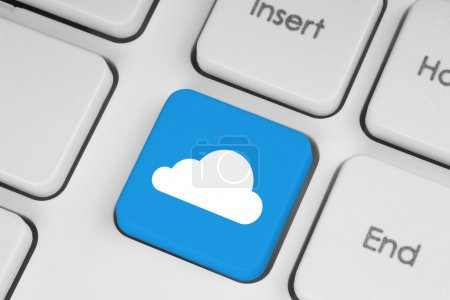 Photo for Cloud computing concept on computer keyboard close-up - Royalty Free Image