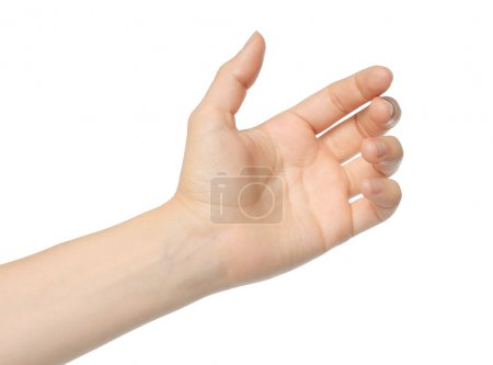 Photo for Woman hand like holding mobile phone, card, tablet pc or smth else - Royalty Free Image