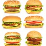 Big hamburgers on white background...