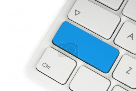 Blank blue button on the keyboard close-up...