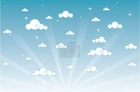 Vector illustration of cartoon beautiful sky