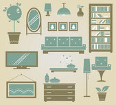 Set of vector furniture icons for living room