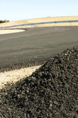 Photo for Asphalt and asphalting the road. Close up - Royalty Free Image
