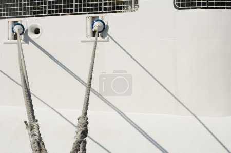 Ship ropes and moored ship