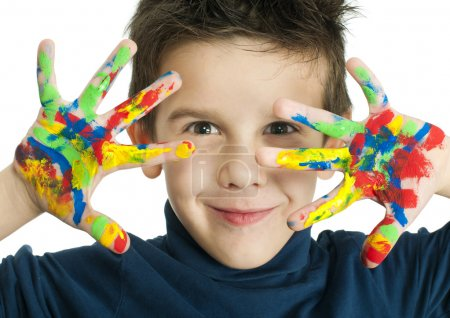 Boy hands painted with colorful paint