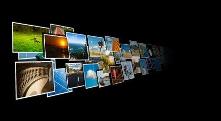 Foto de Perspectiva de imágenes que fluyen desde lo profundo sobre fondo negro - Imagen libre de derechos
