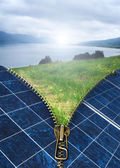 Ecology conception with solar panels