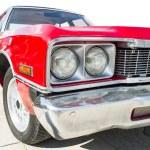 Old vintage retro car. Red color american car. Whi...