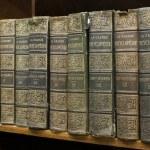 Old books on shelf. French encyclopedia...