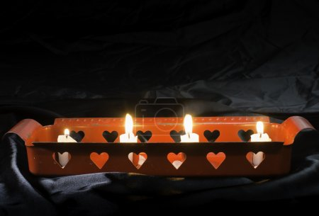 Candles and heart shapes