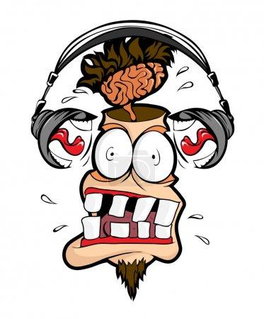 Photo pour Écouteurs homme crier fort dans ma tête . - image libre de droit