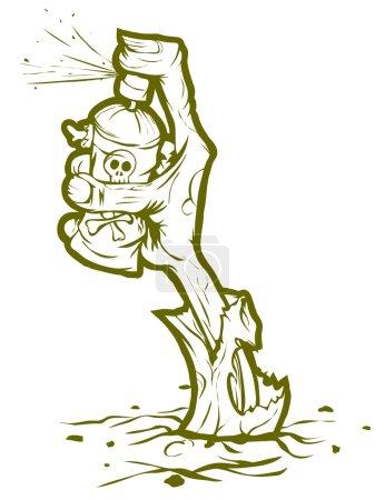 zombie ręcznie maluje graffiti