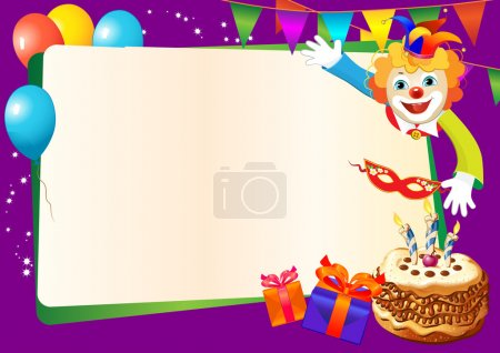 Illustration for Birthday decorative border with cake, candles, balloons and clown - Royalty Free Image