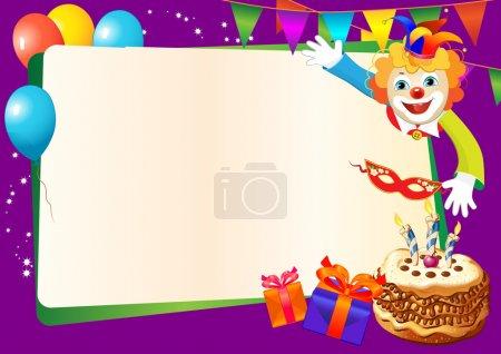 Illustration pour Bordure décorative anniversaire avec gâteau, bougies, ballons et clown - image libre de droit