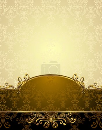 Illustration for Set Seamless pattern in Victorian style Gold and brown colors - Royalty Free Image