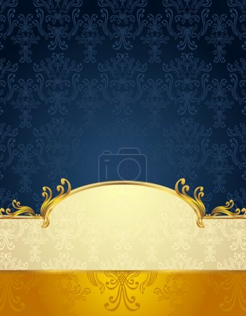 Illustration for Set Seamless pattern in Victorian style Gold and Dark Blue colors or background - Royalty Free Image