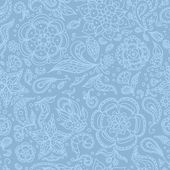 Seamless abstract floral pattern with flowers petals leaves seeds plants or pastel blue background
