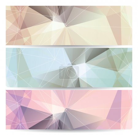 Illustration for Set of abstract geometric banners (headers) with triangular polygons, vector illustration - Royalty Free Image