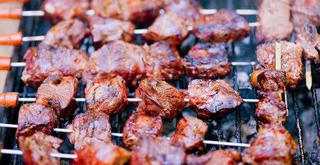 Extreme closeup on kebab skewer