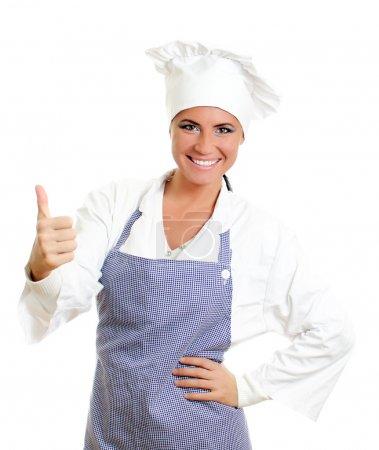 Photo pour Joyeux chef cuisinier abandonnant les pouces. Isolé sur blanc . - image libre de droit