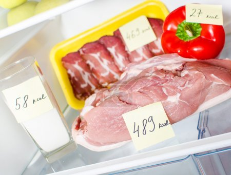 Close up view of fresh meat in the fridge with marked calories