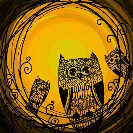 Photo pour Chouette illustration Halloween sur fond de lune. - image libre de droit