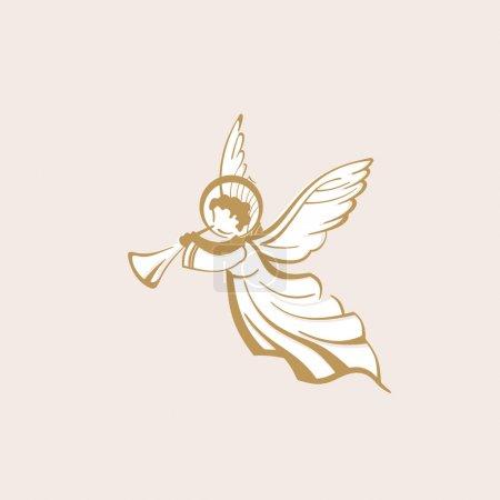 Illustration pour Ange blanc avec trompette - image libre de droit