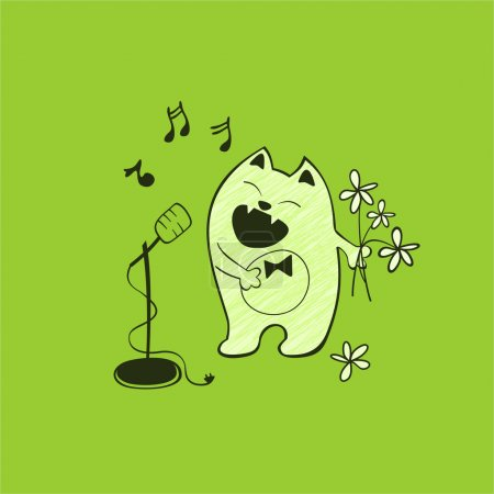 Singing cat with a microphone and flowers