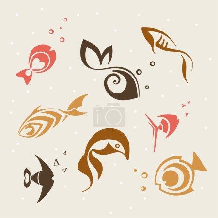 Set of vector fish