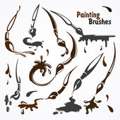 Paint brushes in their work Blots lines and strokes